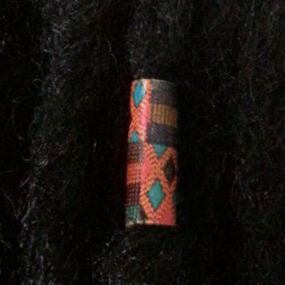 Kente Leather Hair Ring displayed