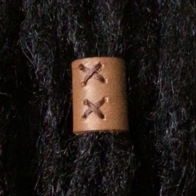 Light brown leather loc bead Foxtrot Designs