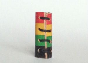 Red gold Green Rasta Leather Hair Loc Bead back