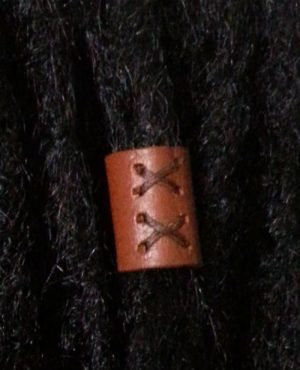 Tan leather loc bead Foxtrot Designs
