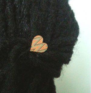 Aztec Wood Hair Grip Displayed