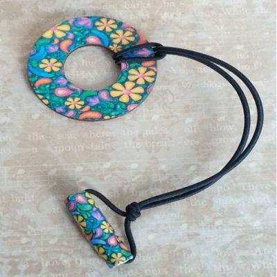 Flower Circle Wood Hair Tie