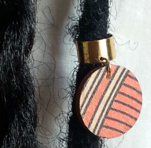 Wood hair ring orange geo collection