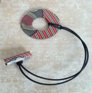 Geo Red Circle Wood Hair Tie