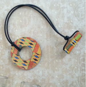 Kente Orange Wood Hair Tie