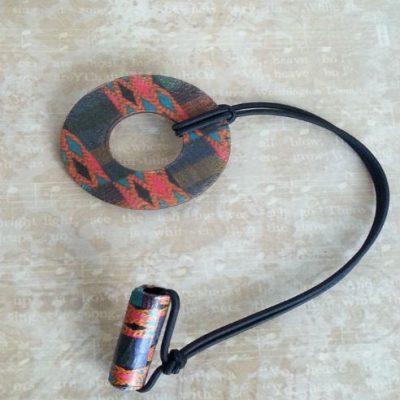 Adjustable Wood Hair Ring Kente