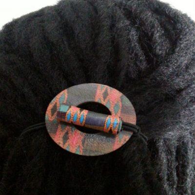 Kente Wood Hair Tie Circle displayed