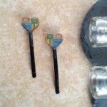 Wood heart hair clips mosaic