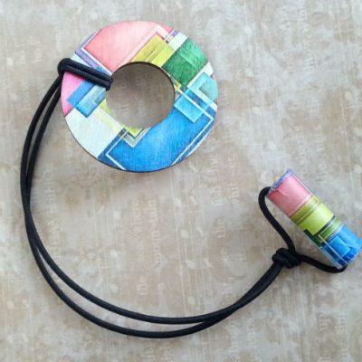 adjustable wood hair ring mosaic