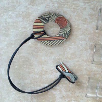 Adjustable Wood Hair Ring Orange Geo