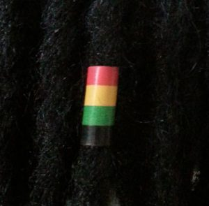 Rasta Leather Hair Loc Bead