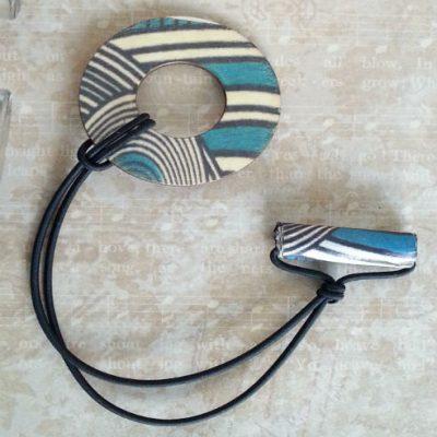 Adjustable Wood Hair Ring Turquoise Geo