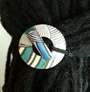 Turquoise Geo Hair Tie displayed shown