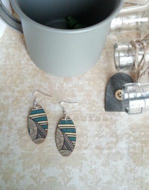 Broad Oval Earrings Printed Wood Turquoise Geo