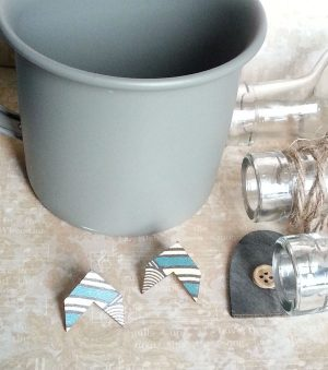 Wooden Chevron Stud Earrings Turquoise Geo