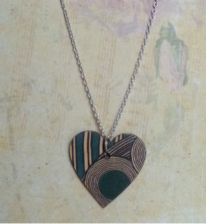 Wooden Heart Necklace | Turquoise Geo