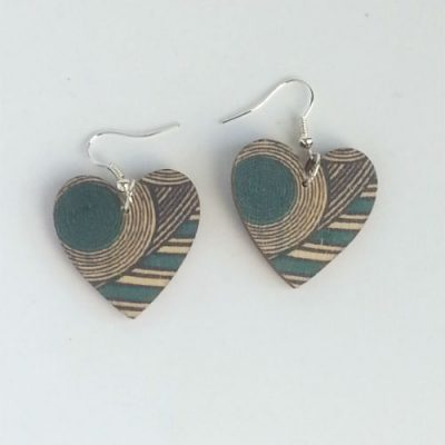 Wooden Heart Drop Earrings Turquoise Geo