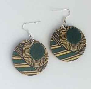 Round earrings circle turquoise geo