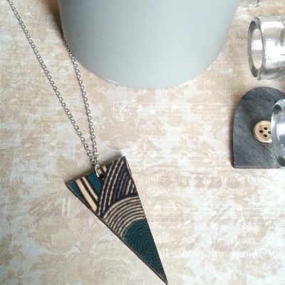 Wooden Shard Necklace | Turquoise Geo