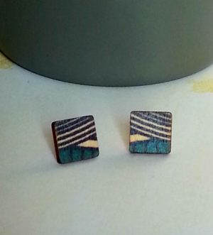 Wooden square stud earrings UK