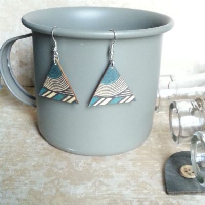Wooden Triangle Earrings Turquoise Geo