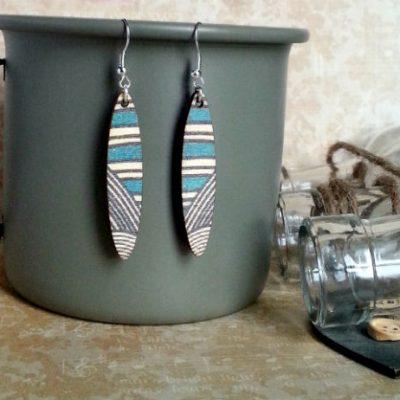 Wooden Oval EarringsTurquoise Geo