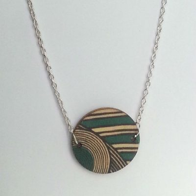 Wooden Circle Necklace Turquoise Geo