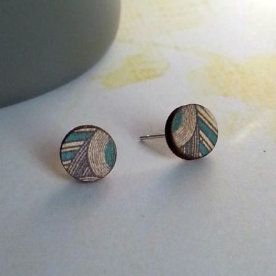 Small Circle Wooden Stud Earrings gallery pic