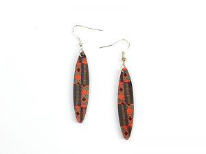African Kente slim oval earrings