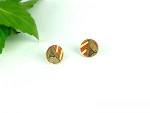Orange Geo Stud Earrings