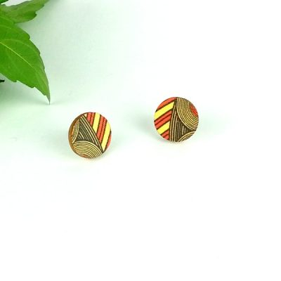 Orange Geo Stud Earrings