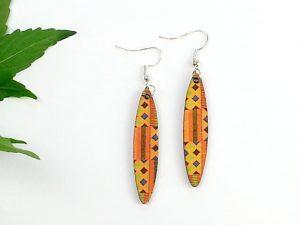 Orange Kente oval earrings