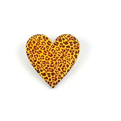 Leopard print animal heart brooch