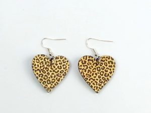 animal print heart earrings