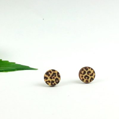 leopard print studs earrings