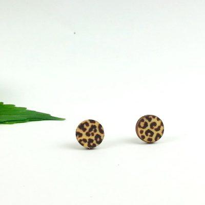 leopard print studs earrings