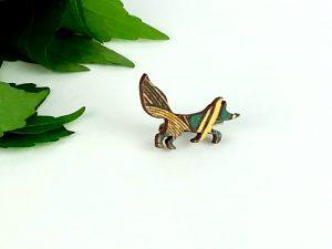fox brooch wooden turquoise geo