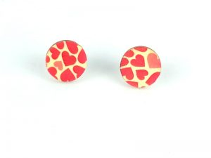 heart stud wood earrings