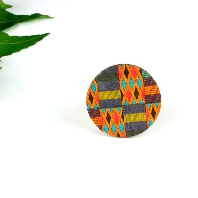 kente circle wood brooch
