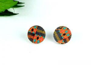 kente stud wood earrings