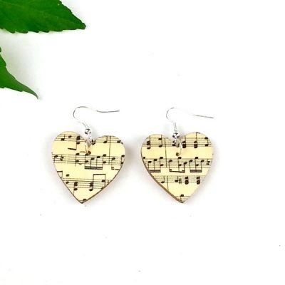 music heart earrings