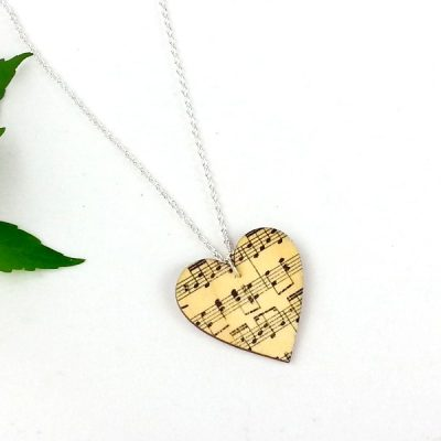 music heart necklace wood