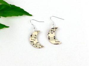 music moon earrings wooden