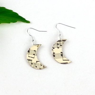 music moon earrings wooden
