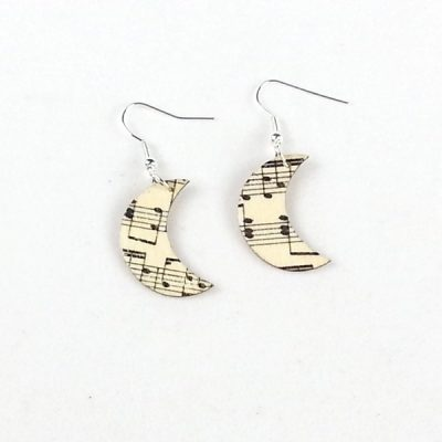 music moon earrings