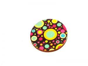 retro planet circle brooch