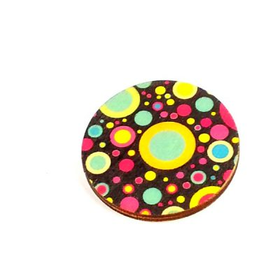 retro planet circle brooch