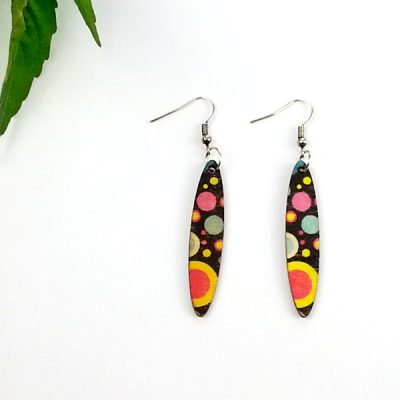 retro planet slim oval earrings