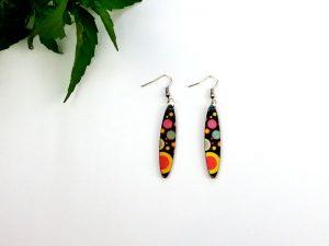 retro planet slim oval earrings