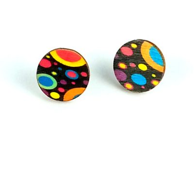 retro planet wood stud earrings